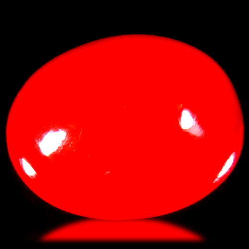 1.09 ct Flashing VVS Clarity Oval Cabochon Cut (8 x 7 mm) Red Opal Natural Loose Gemstone