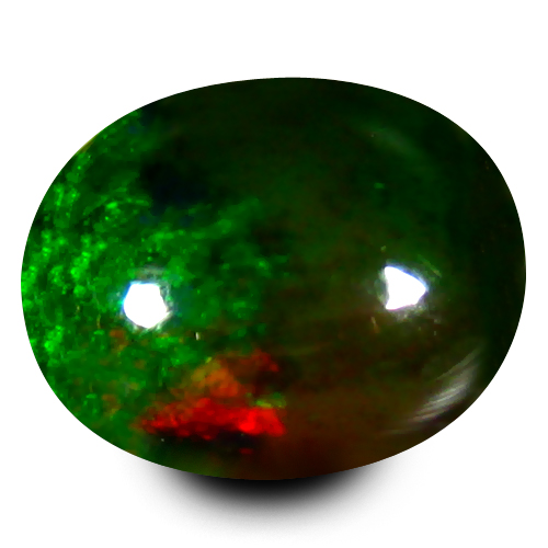 1.13 ct Super-Excellent Oval Cabochon Shape (8 x 7 mm) Multi Color Black Opal Genuine Stone