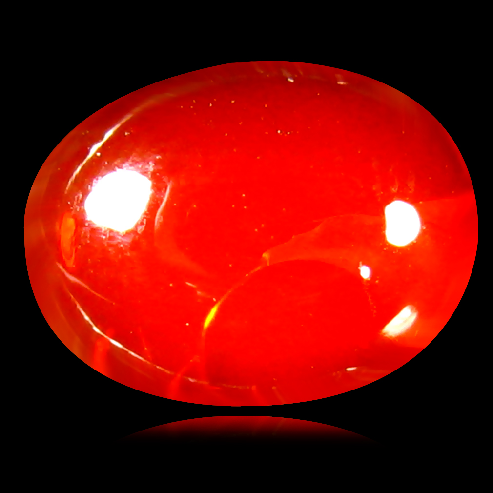 0.93 ct Flashing Oval Cabochon Cut (9 x 7 mm) Un-Heated Natural Orange Fire Opal Loose Gemstone