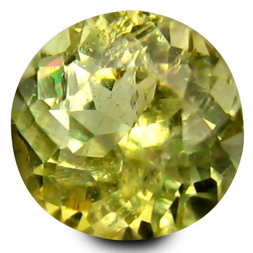 0.37 ct Stunning 4 mm Round Shape Un-Heated Yellow Tanzanite Natural Gemstone