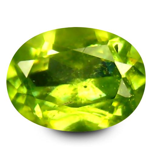 0.49 ct Very good Oval Cut (6 x 4 mm) Green Un-Heated Sphene Natural Gemstone